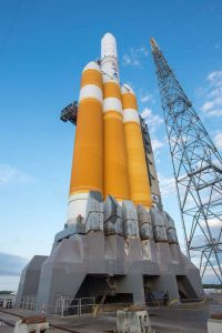 A Boeing Delta IV-Heavy rocket in place for launch.